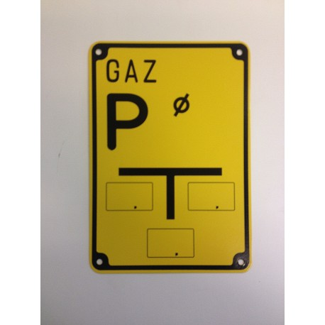 """Tablica ostrzegawcza """"GAZ P"""""""